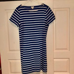 Navy Blue and White Striped JCrew Dress
